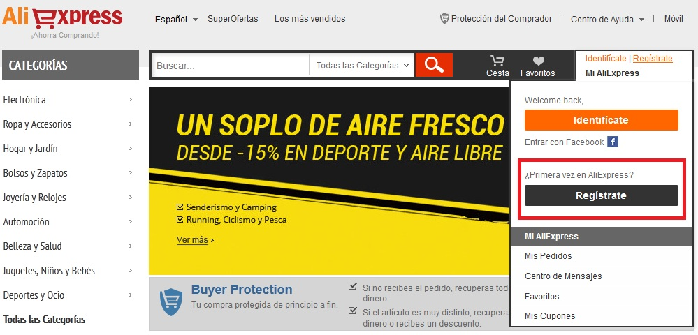 registrarse aliexpress 1